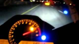 HONDA CBR 1000RR almost 300 km/h at night (185 mph)