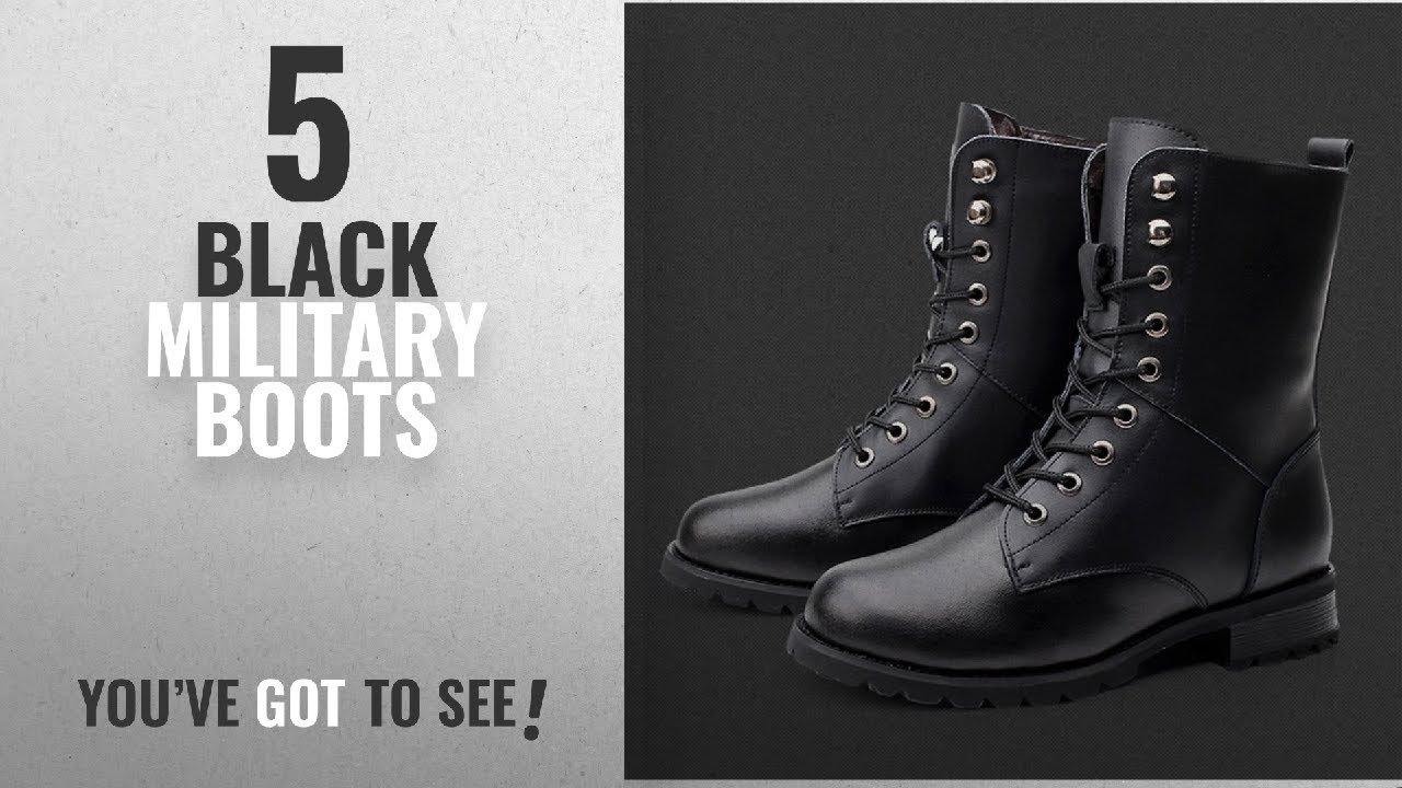 6fe2a3d919c55 Top 5 Black Military Boots [2018]: Combat Boots Military Boots Woman's Punk  Boots Martin Boots Lace