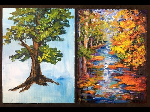 The Lazy Artist's Way to Paint Beautiful Trees in 10 minutes with Acrylic Paints for Beginners