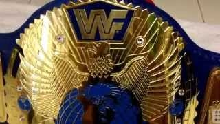 Wwf block logo big eagle 4 mm thick brass on blue leather croc backing