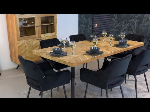 Industriële eettafel visgraat Hunter acaciahout 180 x 90 cm