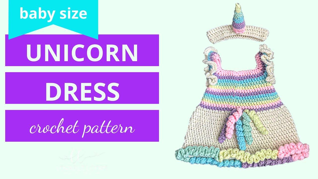 Unicorn Dress Crochet Pattern Tutorial Video | Rainbow Unicorn Horn ...