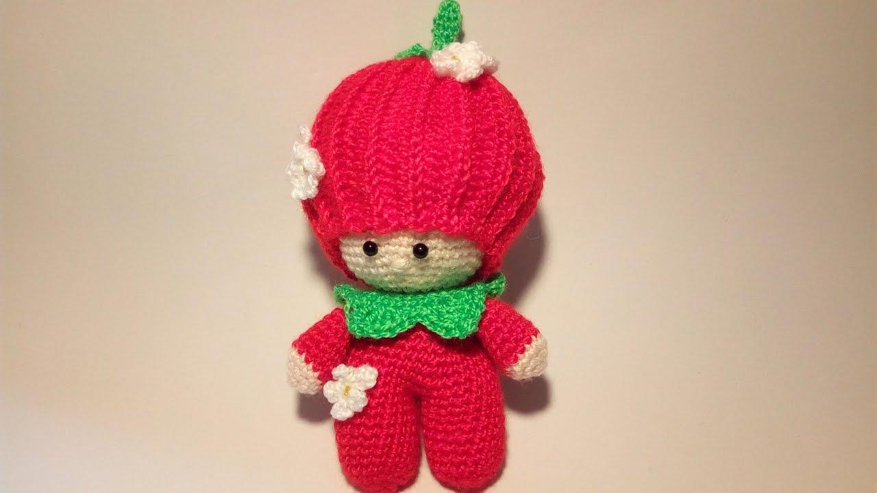 Tutorial Amigurumi Pinguino : Bambola fragolina amigurumi tutorial muñeca fresa crochet doll