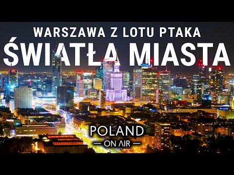 Światła Miasta - Warszawa z lotu ptaka nocą   4K   POLAND ON AIR - Maciej Margas & Aleksandra Łogusz