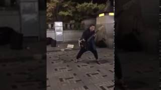 A bassist and a street drummer in crazy mode