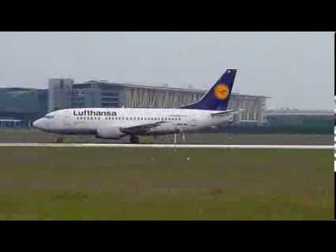 Boeing 737-500 taxi and take-off from Leipzig/Halle airport