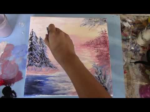 Timelapse – Acrylic Abstract Painting Demo – Easy Winter Landscape – Relaxing
