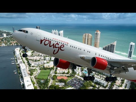 Boeing 767 Landing in Montreal Flight AC1603 from Fort Lauderdale by Air Canada Rouge C-FJZK