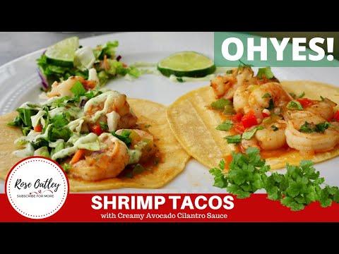 How to make Shrimp Tacos with Creamy Avocado Cilantro Sauce   Shrimp Taco Recipe