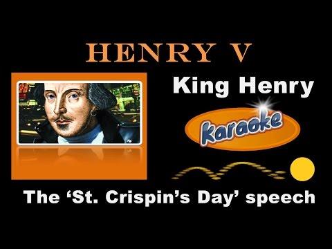 Henry V, St Crispin's Day Speech, Karaoke-format for teaching, 12 March 2017