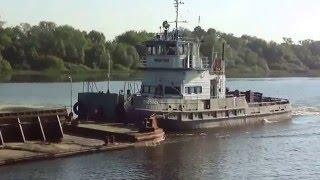 Буксир толкач Подольск с баржой 7395 на реке Оке в районе Щурова 24 05 2014г
