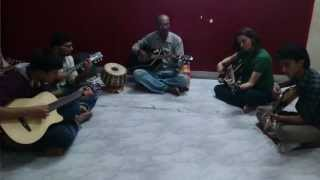 Sanjai Sargam Sir with Shefali , Siddharta , Nikhil and Vinay in a guitar practice session in MUSIC