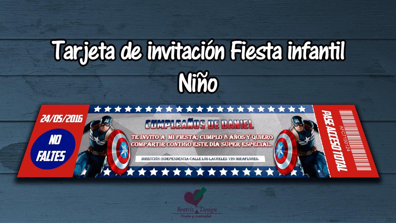 Tarjeta De Invitación Fiesta Infantil Para Niño Estilo Pase En Photoshop Cc