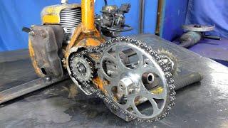 Велосипед с двигателем от бензопилы Урал.