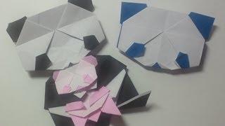 パンダ(顔)の折り方です。How to make paper giant panda(face). 折り...