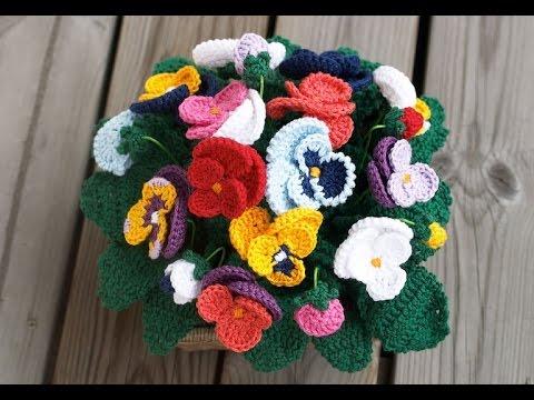Цветок анютины глазки.Вязание крючком-объёмный цветок.