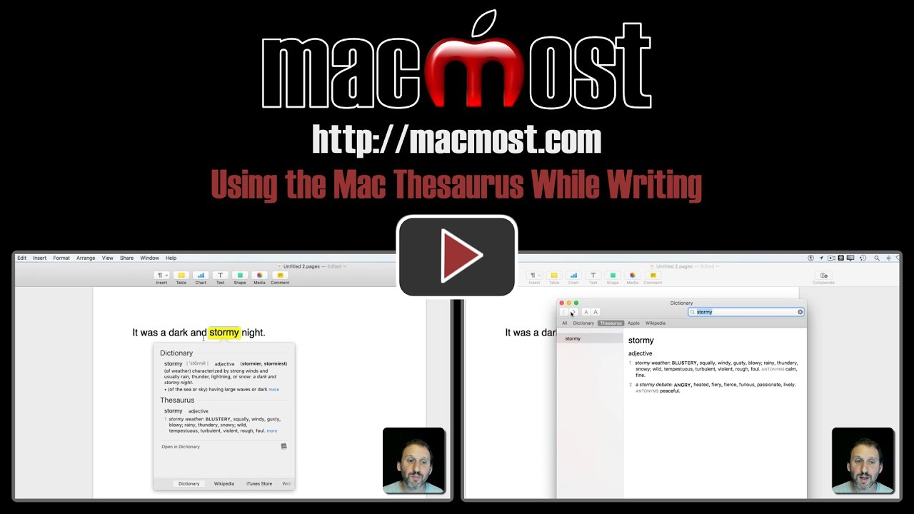Using the Mac Thesaurus While Writing