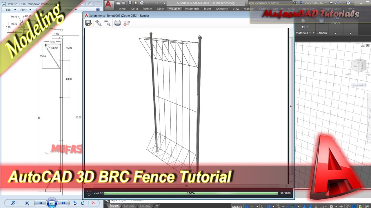 AutoCAD 3d Modeling Tutorial BRC Fence Exercise 36