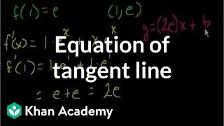 Equation of a tangent line | Taking derivatives | Differential Calculus | Khan Academy