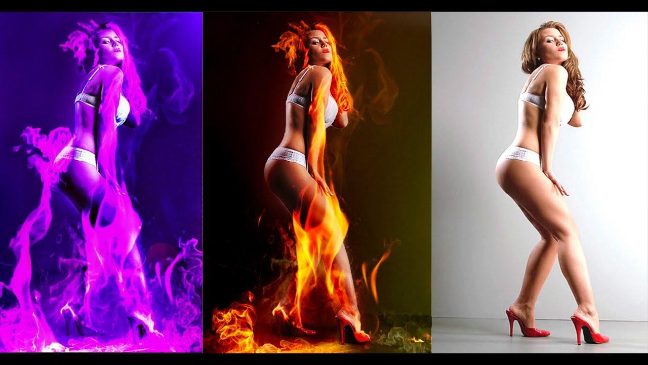 girl on fire Photoshop CS Tutorial - beautiful fire