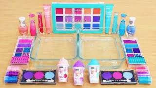 Mixing Pink Blue and Purple Makeup Eyeshadow Into Slime ASMR