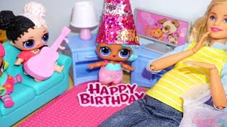 BARBIE Helps Put LOL SURPRISE DOLL Birthday Party Together! Lol Surprise Doll Video