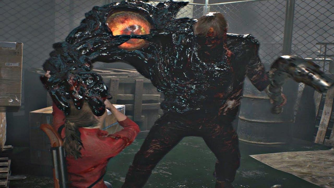 Resident Evil 2 Remake 2019 - Boss Fight #1 William Birkin (Claire ...