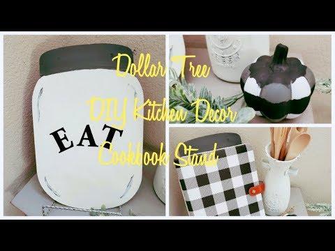 DOLLAR TREE DIY FARMHOUSE KITCHEN DECOR COOKBOOK STAND DIY BUFFALO CHECK PUMPKIN (Easy)