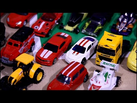 Review 50 small Toy Cars for Children: Police Cars Sports Cars  & a lot of other Cars