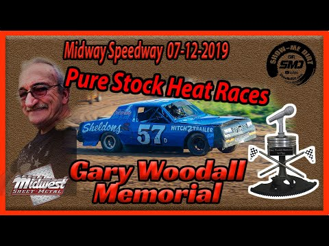 S03➜E333 - Gary Woodall Memorial - Pure Stock Heat Races - Lebanon Midway Speedway 07-12-2019
