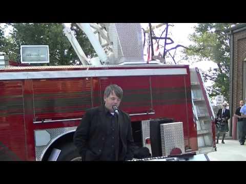 Marion, VA 9/11 Ceremony - Revealing TWTC steel beam.