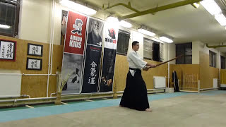 kihon tsuki shiho tatte-boken /sword  [TUTORIAL] basic Aikido weapon technique 合気剣 合気剣