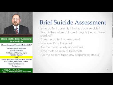 Basic Methods for Assessing Suicide Prevention Risk with Shane Gregory Owens, PhD, ABPP