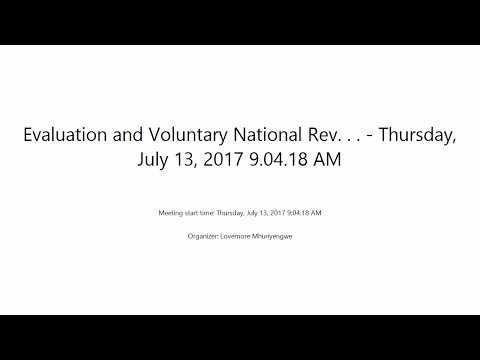 Evaluation and Voluntary National Reviews