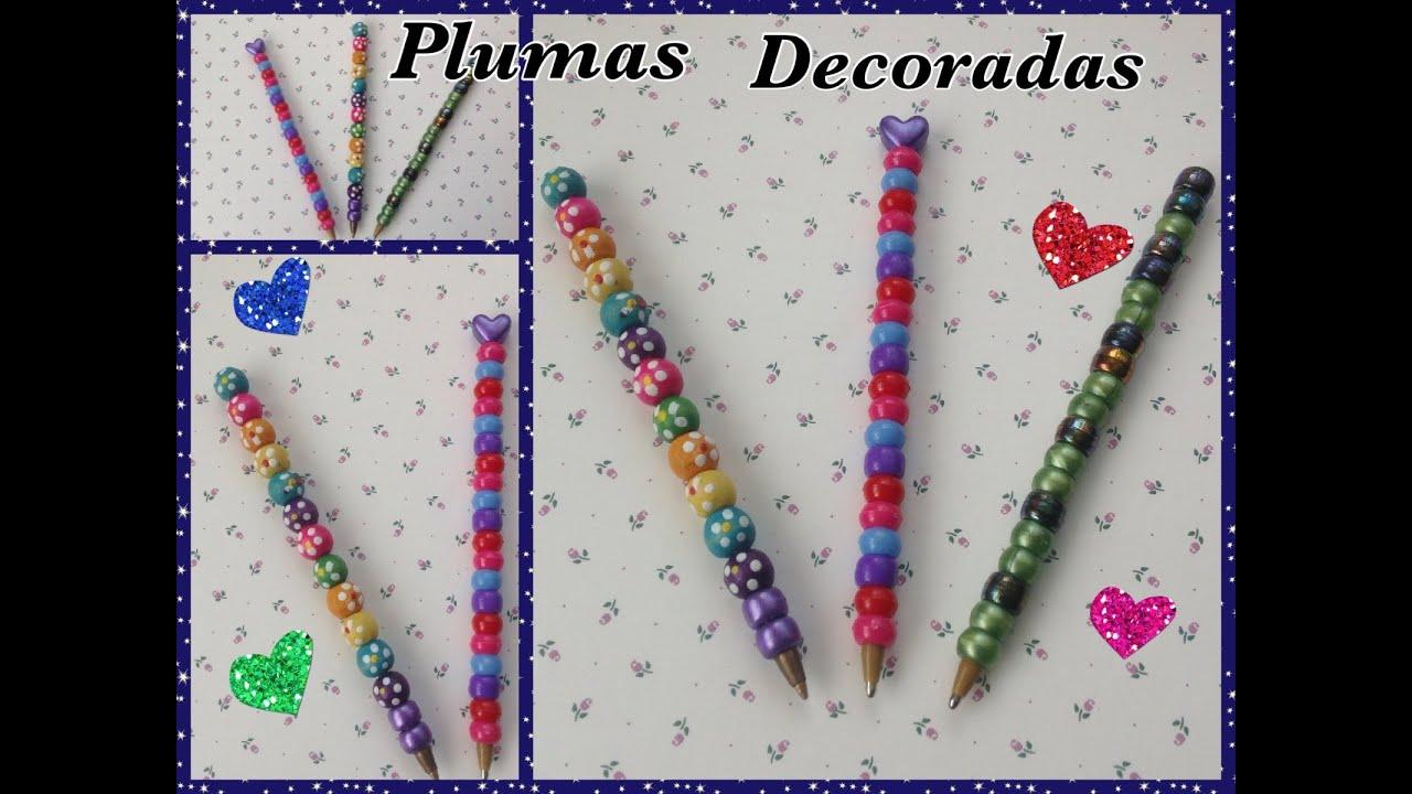 Pluma o lapicero adornado con cuentitas de colores diy for Plumas para decorar