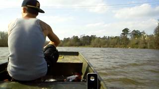 12 ft jon boat w/ 5hp B&S (Briggs & Stratton) cruising the San Jacinto River W/ 2 people
