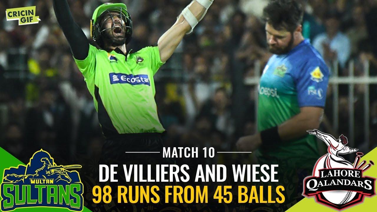 PSL 2019 Match 10: Multan Sultans vs Lahore Qalandars | AB de Villiers David Wiese Partnership
