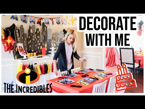 DECORATE WITH ME! LANDON'S INCREDIBLES BIRTHDAY PARTY DECOR IDEAS + PARTY SUPPLY HAUL! Brianna K