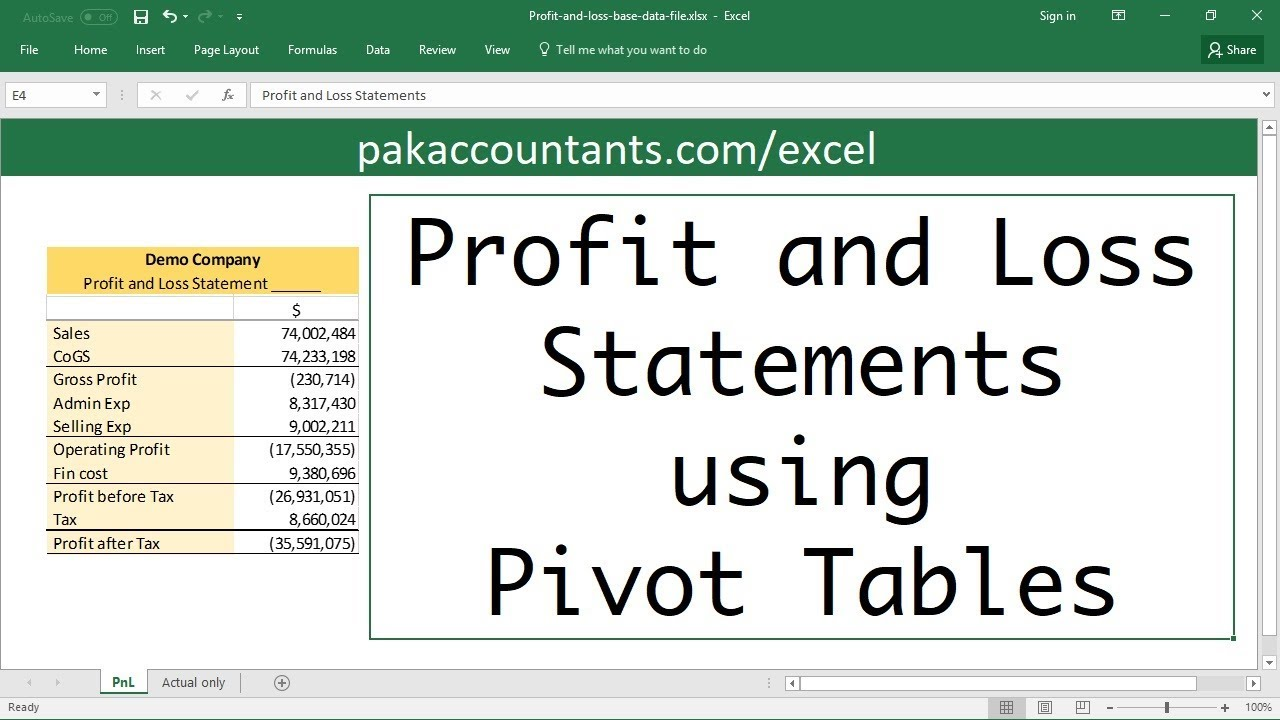Making profit  loss statements in excel using pivot tables also youtube rh