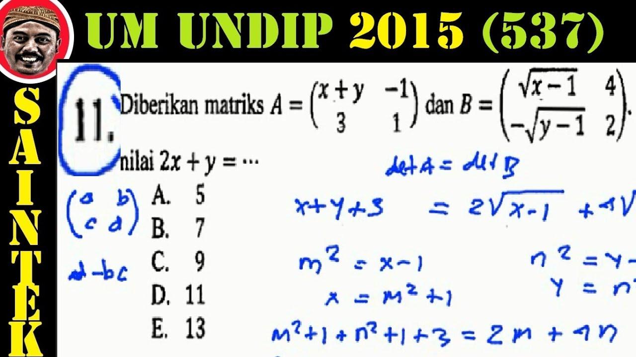 UM UNDIP 2015 Kode537, Matematika Dasar, Pembahasan No 11