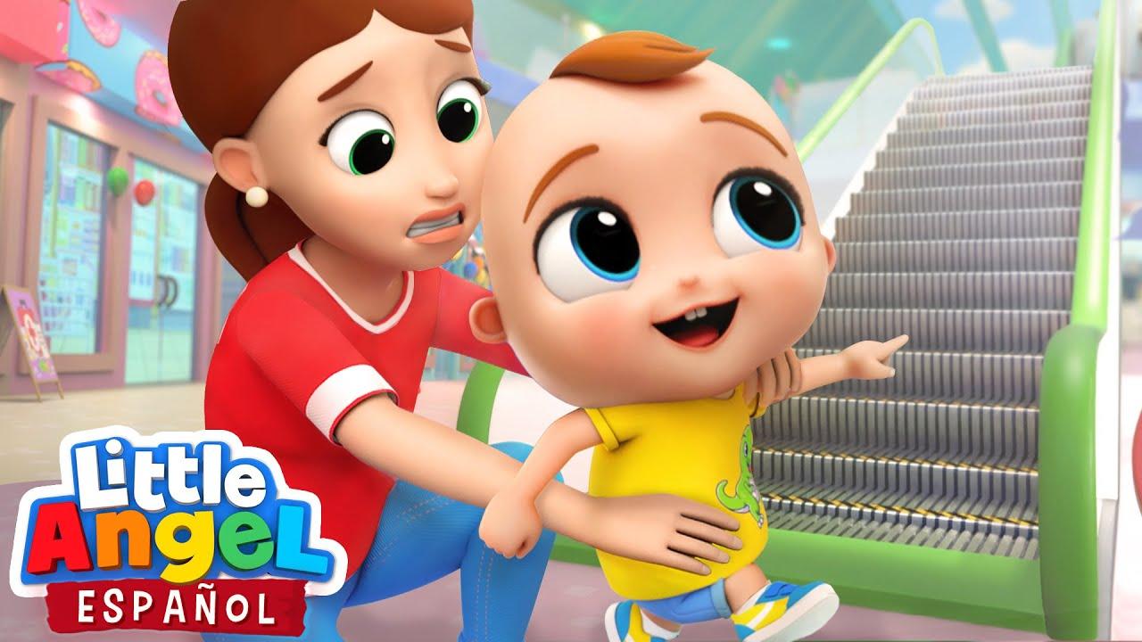 ¡Cuidado en la Escalera Mecánica! | Canciones Infantiles de Bebé Juan | Little Angel Español