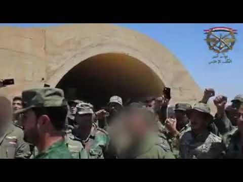 SYRIA:TIGER FORCES B/G SUHEIL AL-HASSAN & HIS TIGERS AFTER INSPECTING WEAPONS SEIZED DARAA AL-SHARQI