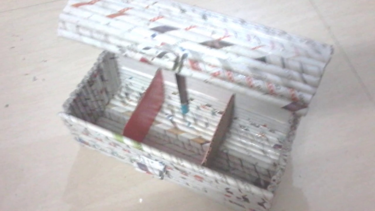 Diy how to make jewellery box using newspaper rolls for Useful best out of waste
