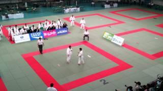 Riki Nakaya -73 kg against a 130-kilo-guy from Kokushinkan
