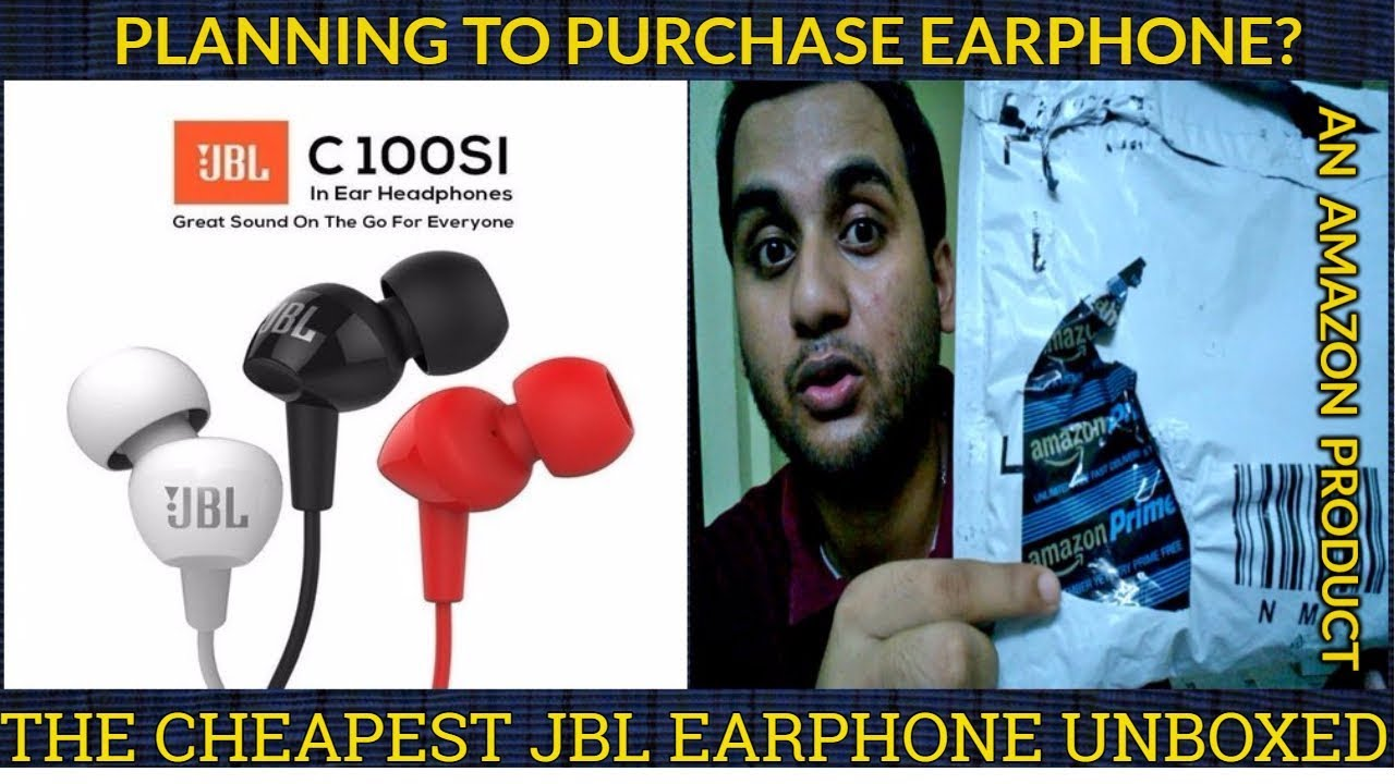 JBL C100SI in-Ear Headphones with Mic (Black) Unboxing Hindi Price Review