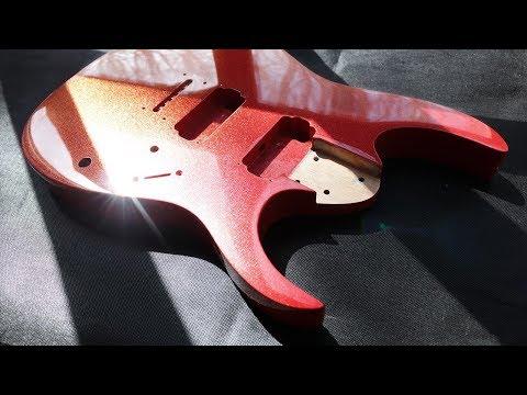 Покраска гитары. Феерический красный.