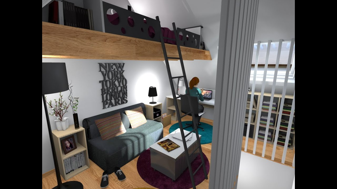 cr ation d 39 une chambre avec mezzanine youtube. Black Bedroom Furniture Sets. Home Design Ideas