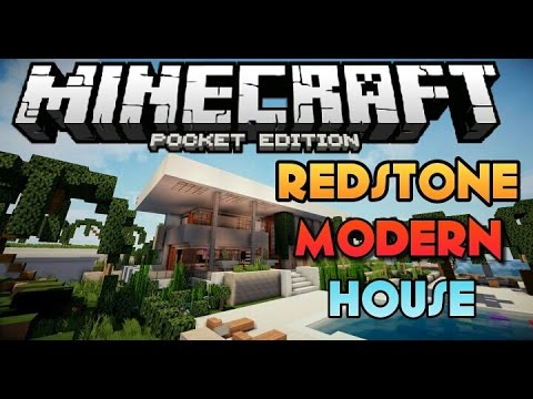 Best redstone house for mcpe redstone modern house for Modern house minecraft pe 0 12 1
