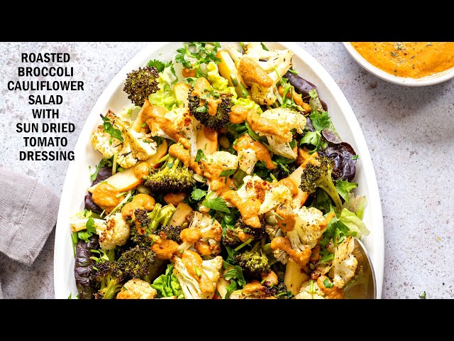 ROASTED BROCCOLI CAULIFLOWER SALAD WITH SUN DRIED TOMATO DRESSING | Vegan Richa Recipes
