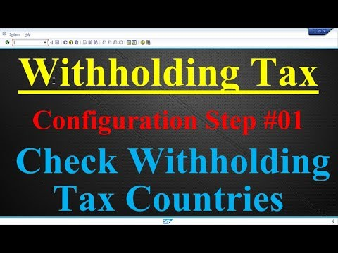 Withholding Tax Configuration Step #01 Check Withholding Tax Countries